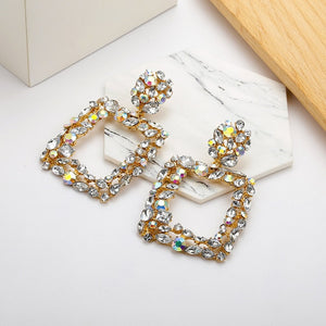 ZA Boho Vintage Earrings for Women Crystal Flower Star Heart Dangle Drop Earrings Long Big Earrings Statement Bohemian Jewelry