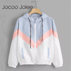 Jocoo Jolee Fashion Hooded Windbreaker Jacket Patchwork Jackets Women Color Block Zipper Jacket 2018 Fall Casual Coats Outerwear