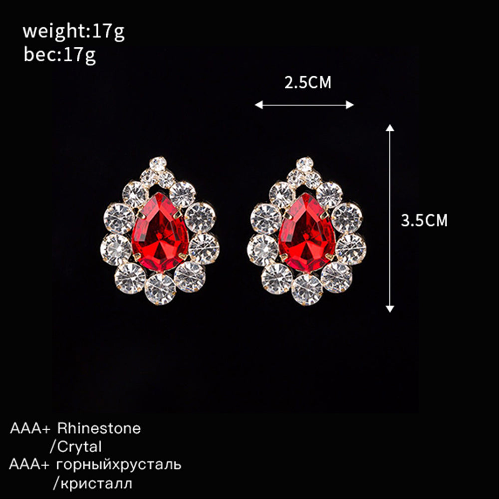 Beautiful Bling Bling Lucky Red Drop Gem Sparkling Shine Stone Transparent Interspersion Big Stud Earring Earrings #E192