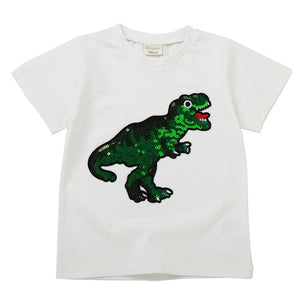 Girls Boys T-Shirts Children Magic Sequin Reversible Cotton Casual Summer Clothing Fashion T Shirt Kids Unicorn Tops Tee