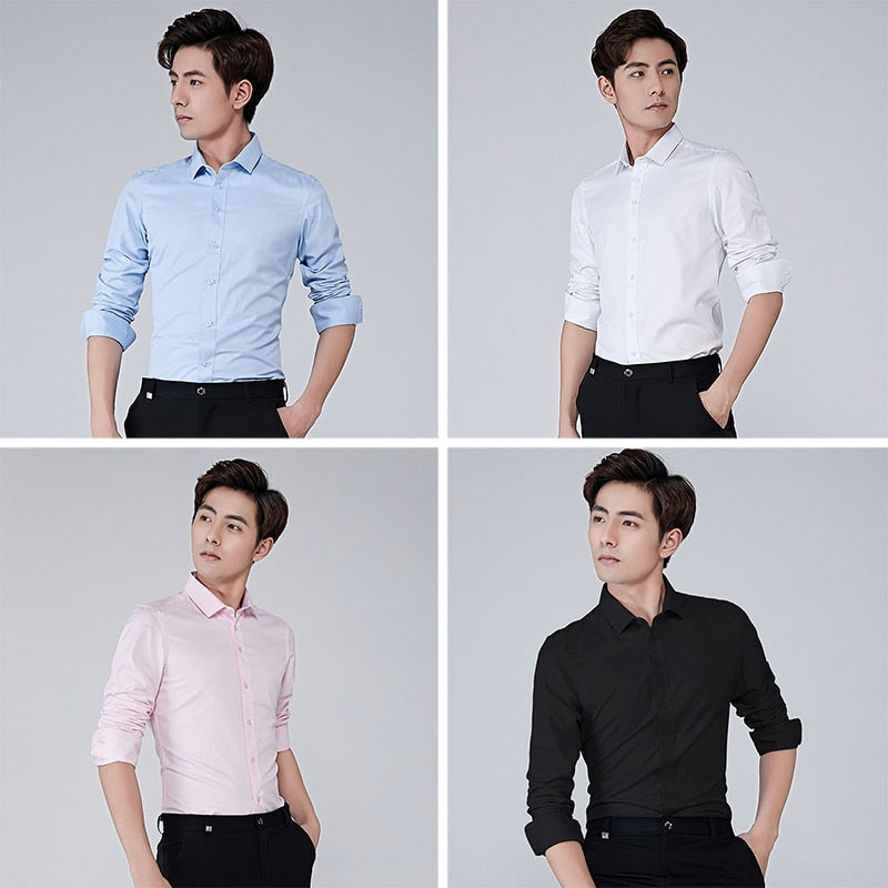 BROWON Brand Men Shirt Business Hydrophobic Material Long Sleeve Anti-fouling Social Shirt Slim Fit Shirt Big Size 5XL