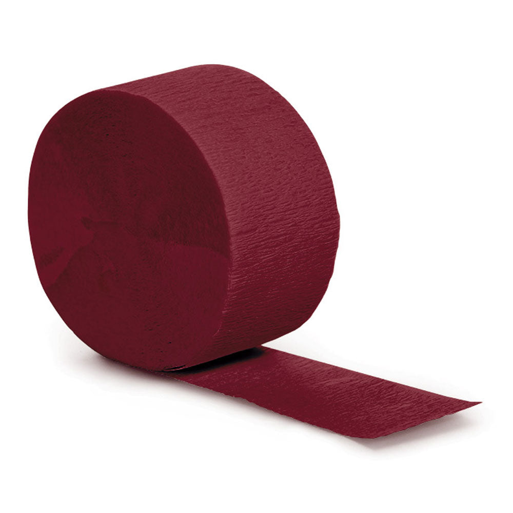Burgundy 81 ft Solid Crepe Streamer