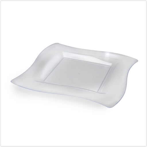 Clear 9 1/2 Inch Wave Shape Plastic Dinner Plates