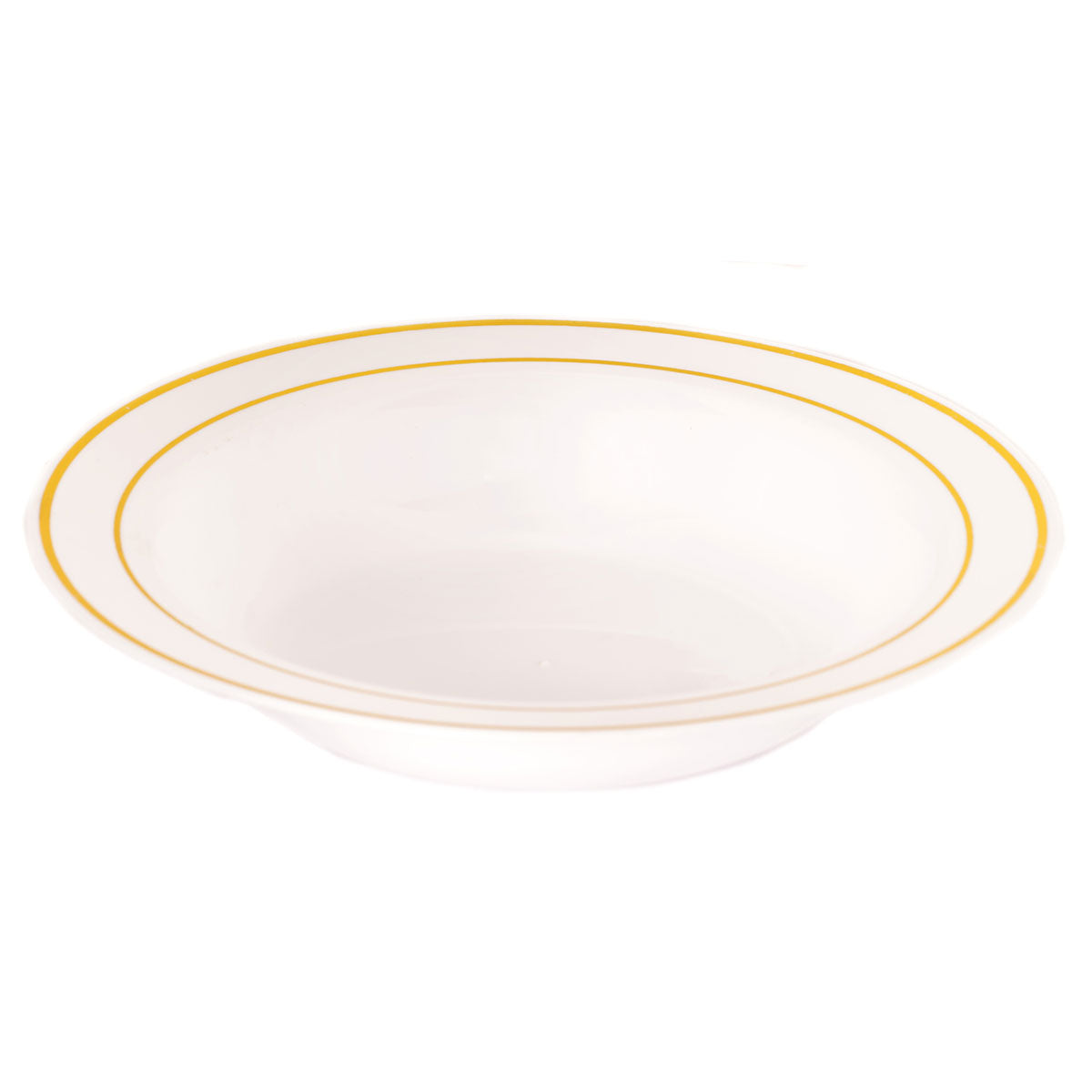 Edge 12 Oz. Plastic Soup Bowls, White with Gold Band
