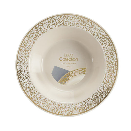 Lace Collection 12 Oz. Plastic Bowls Ivory with Gold Band