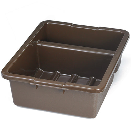 "21""L x 17""W x 7""H Heavy Duty Divided Bus Tub Tote Box, Brown, 5.5 Gal."