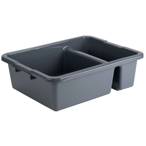 "21""L x 17""W x 7""H Heavy Duty Divided Bus Tub Tote Box, Gray, 5.5 Gal."