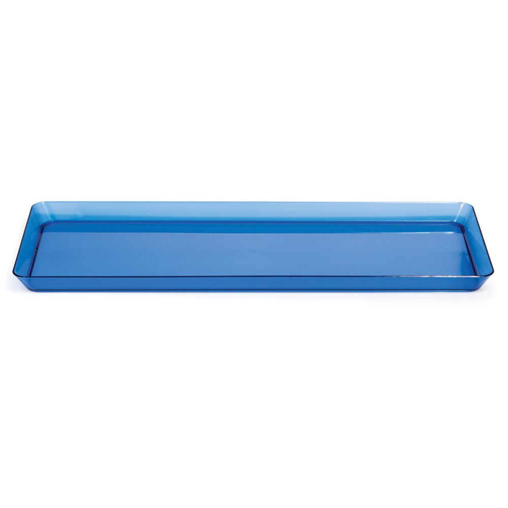 "Trendware 15 1/2""L x 6""W Translucent Blue Plastic Rectangular Trays"