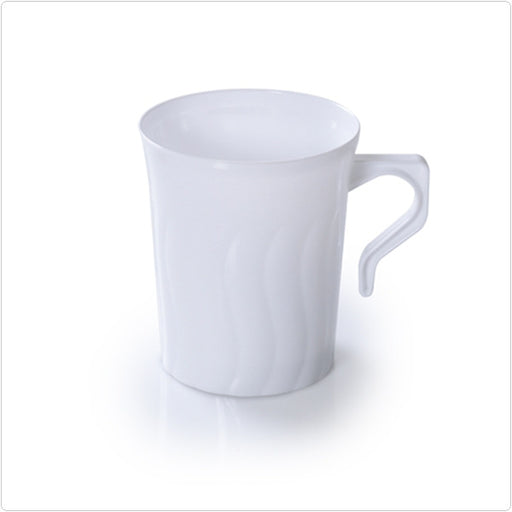 White Flairware 8 oz Plastic Coffee Mugs