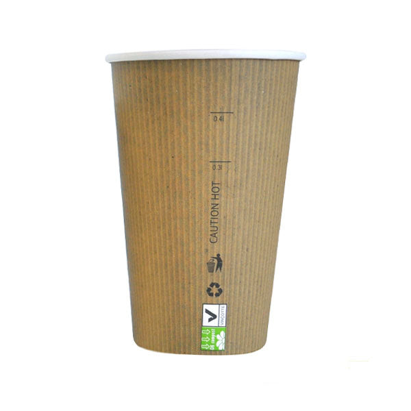 Eco Friendly 16 Oz. Kraft Rigid Outside Paper Cup/Case of 1000