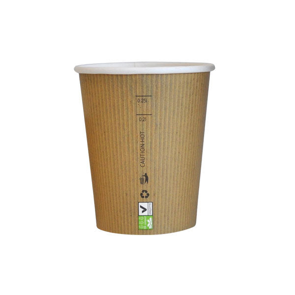 Eco Friendly 9 Oz. Kraft Rigid Outside Paper Cup/Case of 1000