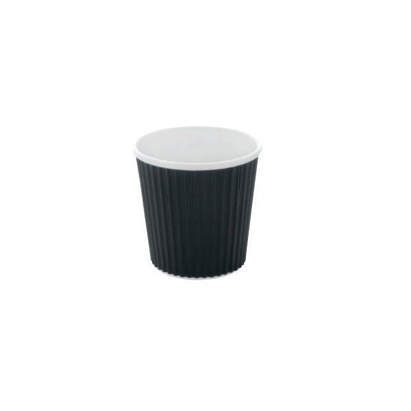 Eco Friendly 4 Oz. Black Rippled Outside Paper Cup/Case of 1000