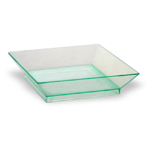 1 1/2 oz Square Transparent Green Dishes/Case of 200