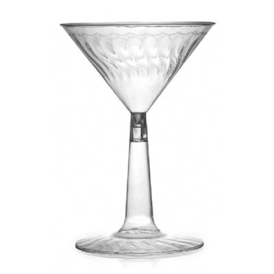 6 oz Plastic Waves Martini Glass with Clear Base