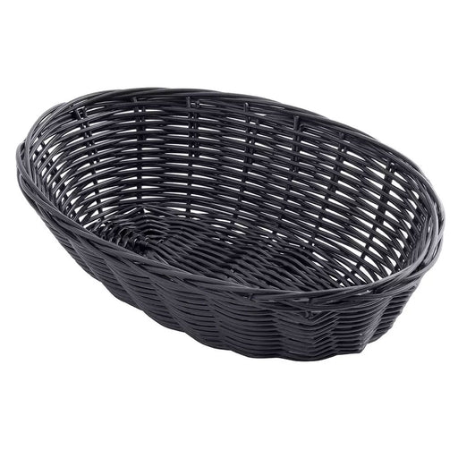 "Tablecraft Handwoven Oval Basket, Black, 9""L x 6""W x 2 1/4""H"