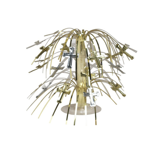 8.5 inch Mini Cascade Centerpiece Silver and Gold Crosses/Case of 12