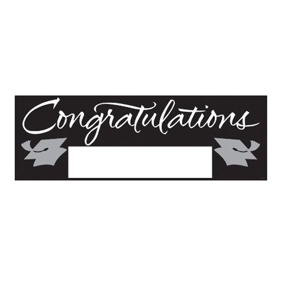 Fill In Black/Silver Grad Giant Party Banner 60 Inch x 20 Inch