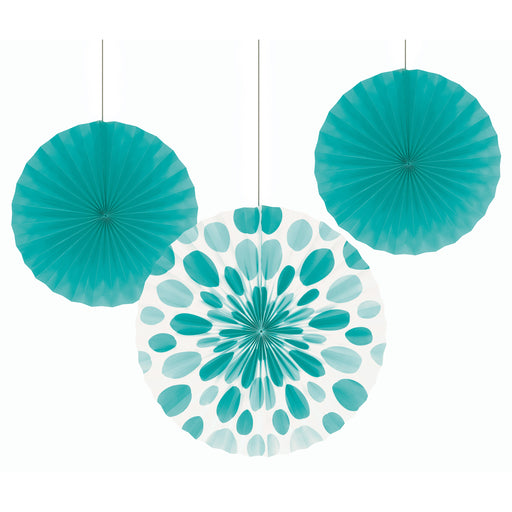 "Teal Lagoon 16"", 12"" Solid Polka Dot Paper Fan Pack"