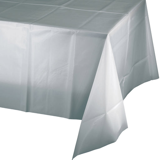 "Shimmering Silver 54"" x 108"" Plastic Tablecover"