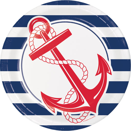 "Nautical Anchor 8 3/4"" Dia. ""Hooks"" Printed Dinner Plates, Case of 96"
