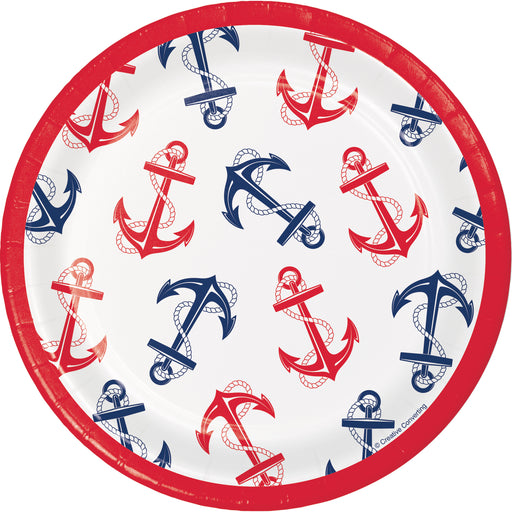 "Nautical Anchor 7"" Dia."" Different Hooks"" Printed Luncheon Plates, Case of 96"