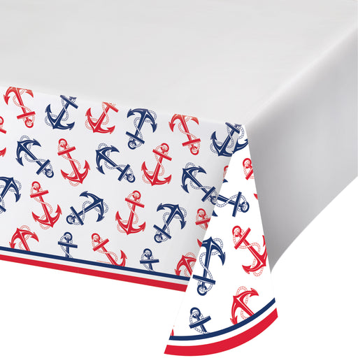 "Nautical Anchor 54""L X 102""W Plastic Tablecover All Over Printed, Case of 12"