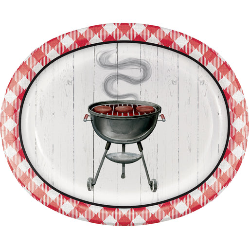 "Backyard BBQ 10""L X 12""W ""Oval Platter"" Printed Plate Foil, Case of 96"