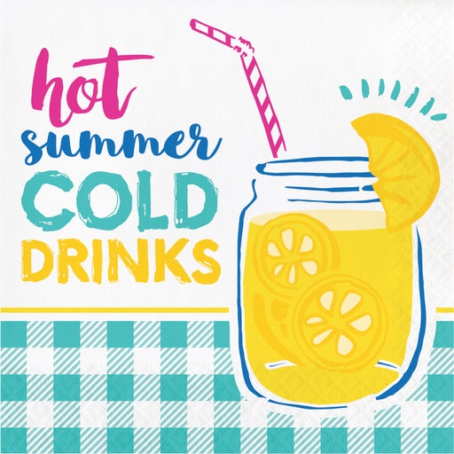 "Picnic Lemonade ""Hot Summer Cold Drinks"" Printed Luncheon Napkins, Case of 192"