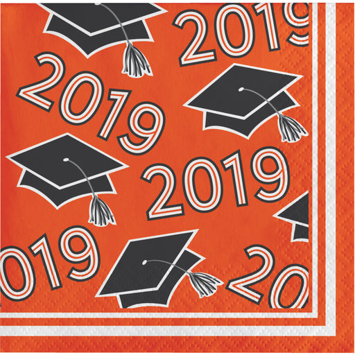 Class of 2019 10 cases / 36 Packages Orange Beverage Napkins, Case of 360