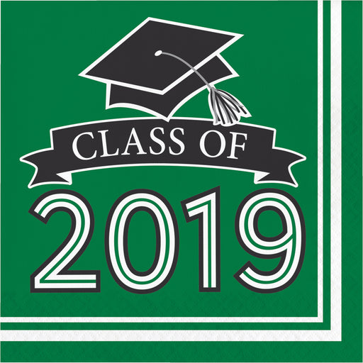 Class of 2019 10 cases / 36 Packages Green Luncheon Napkins, Case of 360