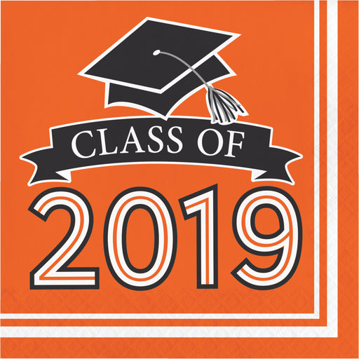 Class of 2019 10 cases / 36 Packages Orange Luncheon Napkins, Case of 360