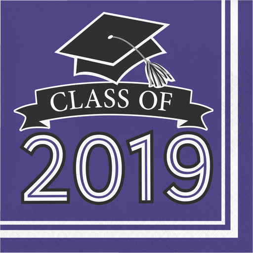 Class of 2019 10 cases / 36 Packages Purple Luncheon Napkins, Case of 360