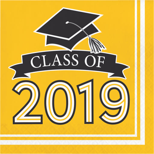 Class of 2019 10 cases / 36 Packages Yellow Luncheon Napkins, Case of 360