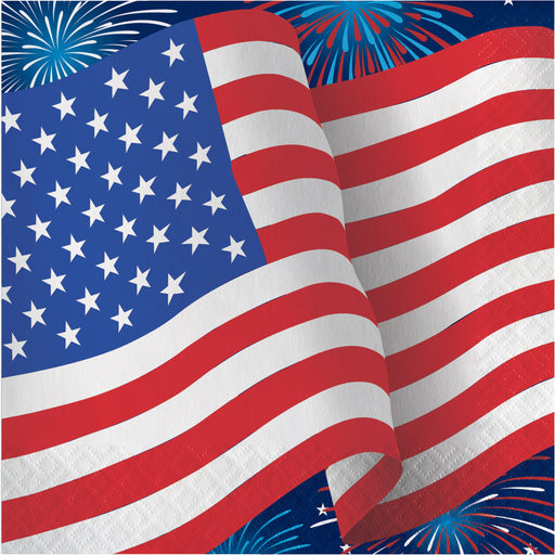 "Patriotic Party ""American Flag with Firework"" Printed Luncheon Napkins, Case of 192"