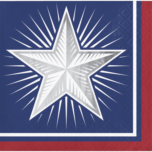 "Shining Flag "" Silver Big Star"" Printed Beverage Napkins, Case of 192"