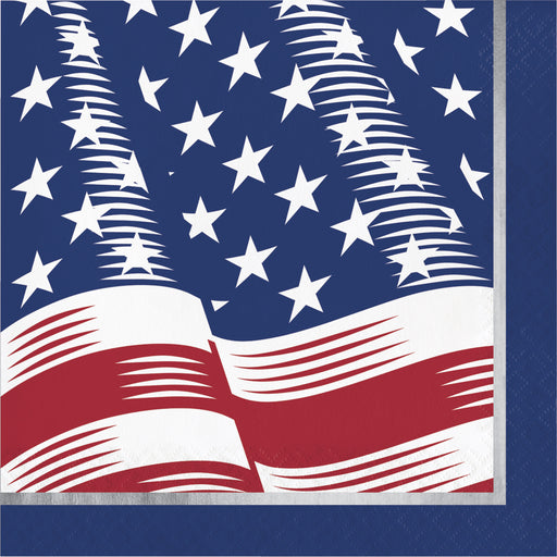 "Shining Flag ""American Flag"" Printed Luncheon Napkins, Case of 192"