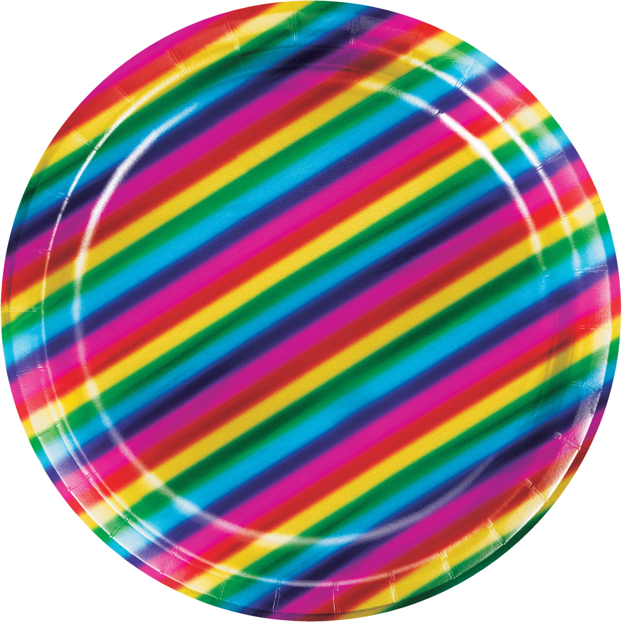 "Rainbow Foil 7"" Dia. Paper Luncheon Plate"