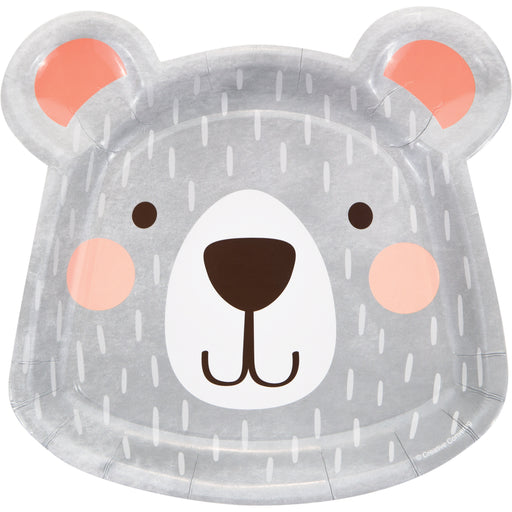 "1st Birthday Bear 8 1/5""L X 8 1/4""W Shaped Dinner Plates"