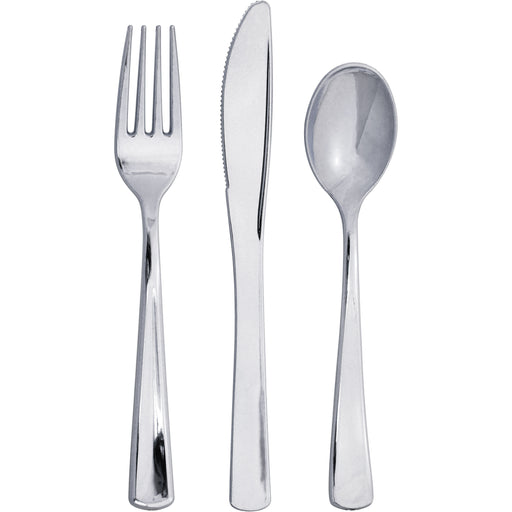 Metallic Silver Assorted Plastic Cutlery