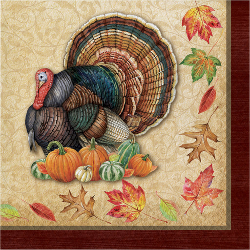 "Harvest Turkey 2 Ply 12 7/8"" x 12 7/8"" Luncheon Napkins"