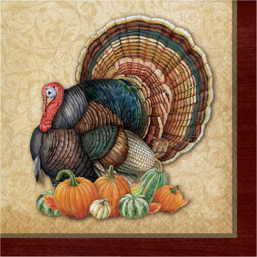 "Harvest Turkey 3 Ply 15 5/8"" x 15 5/8"" Dinner Napkins"