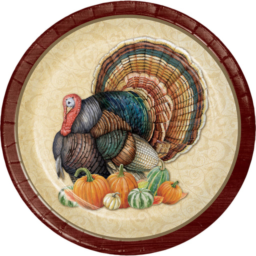 "Harvest Turkey 6 3/4"" Dia. Paper Luncheon Plates"