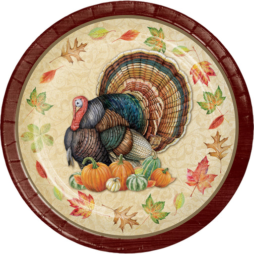 "Harvest Turkey 8 3/4"" Dia. Paper Dinner Plates"