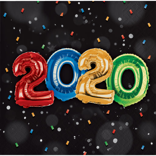 "New Year Balloons 2 Ply 10"" x 10"" Beverage Napkins"