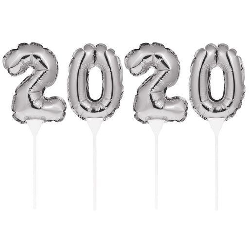 "New Year ""2020"" 3 1/2""W x 9""H Silver Cake Toppers"