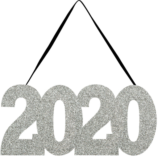 "New Year ""2020"" 11""W x 5 1/2""H Silver Sign"