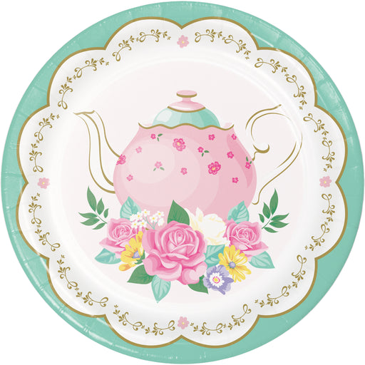"Floral Tea Party 6 7/8"" Dia. Paper Dinner Plates"