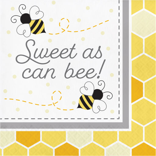"Bumblebee Baby 12 7/8"" x 12 7/8"" 2 Ply ""Sweet as can bee!"" Luncheon Napkins"