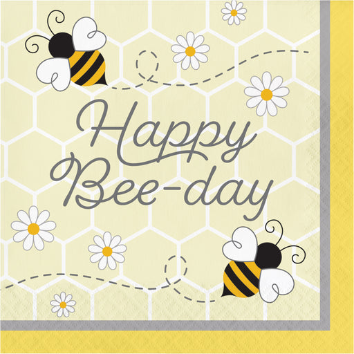 "Bumblebee Baby 12 7/8"" x 12 7/8"" 2 Ply ""Happy Bee-day"" Luncheon Napkins"