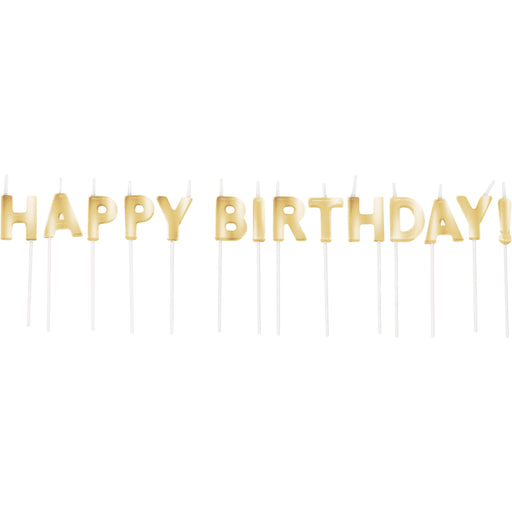 "Gold Happy Birthday 5/8""W x 2 5/8""H Pick Candles"